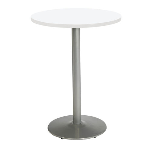 "Our 30"" Round Laminate Bistro Height Pedestal Table with Designer White Top - Silver Round Base is on sale now."