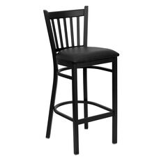 Black Vertical Back Metal Restaurant Barstool with Black Vinyl Seat