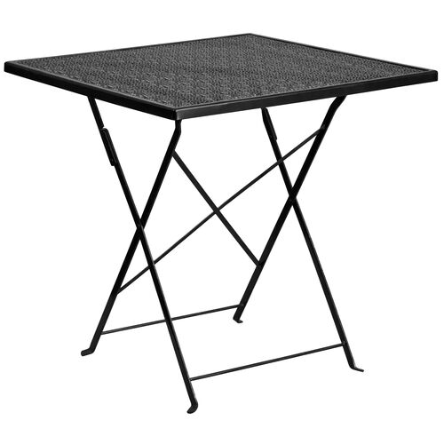 "Our Commercial Grade 28"" Square Black Indoor-Outdoor Steel Folding Patio Table is on sale now."