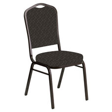 Embroidered Crown Back Banquet Chair in Optik Chocaqua Fabric - Gold Vein Frame