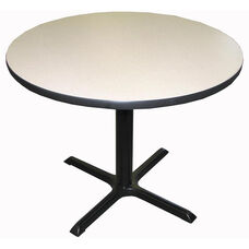 Laminate Top Pedestal Round Table with Cast Iron X-Base - 48