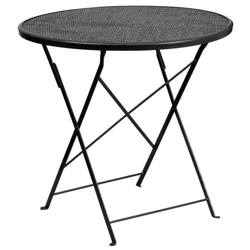"""Our Commercial Grade 30"""" Round Black Indoor-Outdoor Steel Folding Patio Table is on sale now."""