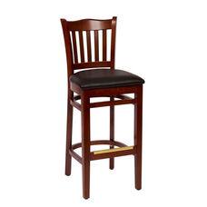 Princeton Mahogany Wood School Barstool - Vinyl Seat