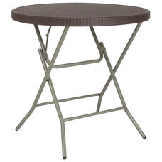 3-Foot Round Brown Rattan Plastic Folding Table
