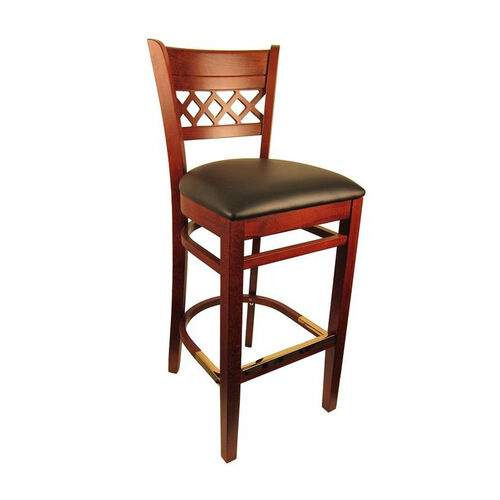 Our Lattice Back Barstool with Dark Mahogany Finish and Black Vinyl Seat is on sale now.