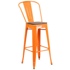 "30"" High Orange Metal Barstool with Back and Wood Seat"
