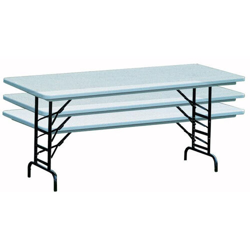 Our Adjustable Height Blow-Molded Plastic Top Rectangular Folding Table - 30