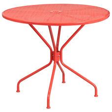 "Commercial Grade 35.25"" Round Coral Indoor-Outdoor Steel Patio Table"