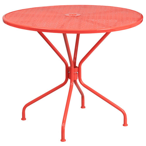 "Our Commercial Grade 35.25"" Round Coral Indoor-Outdoor Steel Patio Table is on sale now."
