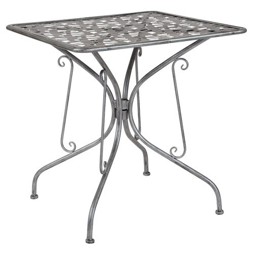 "Our Agostina Series 27.5"" Square Antique Silver Indoor-Outdoor Steel Patio Table is on sale now."