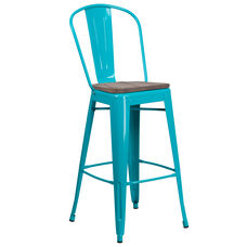 """30"""" High Crystal Teal-Blue Metal Barstool with Back and Wood Seat"""