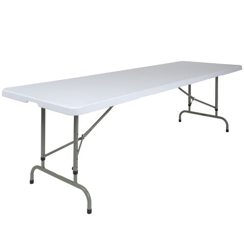 Our 8-Foot Height Adjustable Granite White Plastic Folding Table is on sale now.