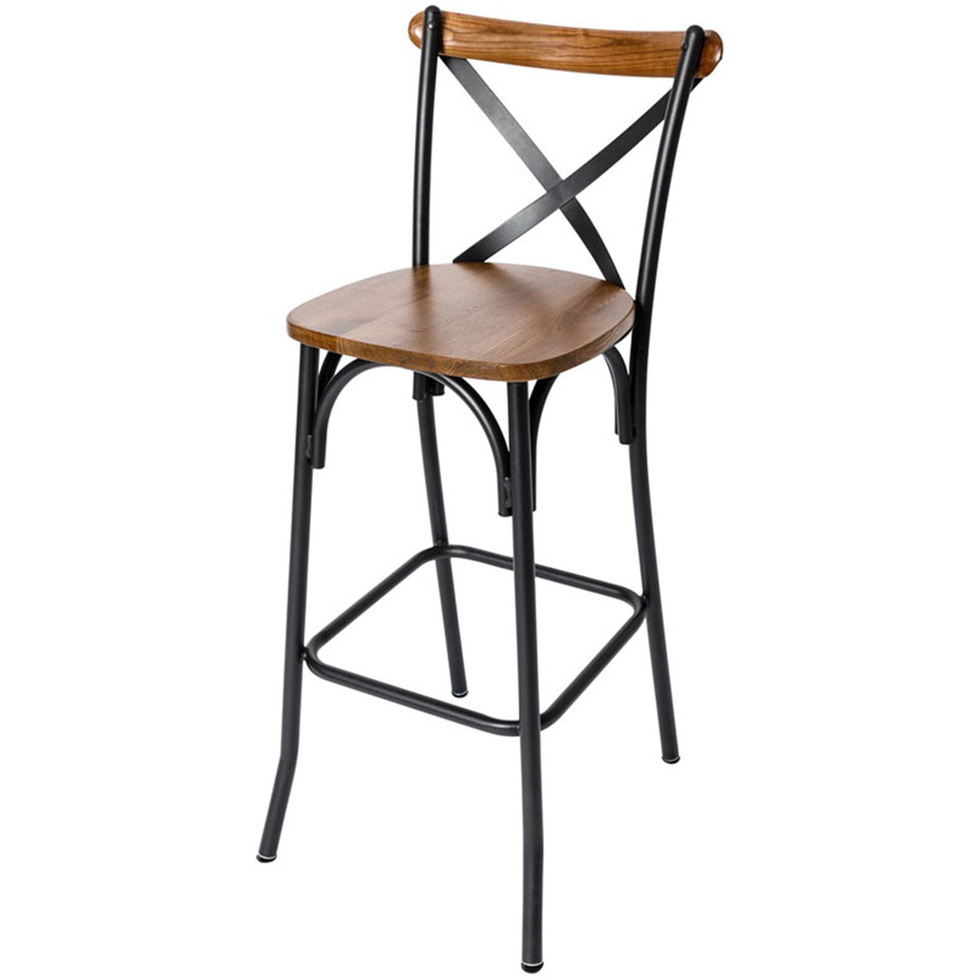 Superb Henry Black Metal Cross Back Barstool Autumn Ash Wood Seat Spiritservingveterans Wood Chair Design Ideas Spiritservingveteransorg