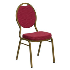 HERCULES Series Teardrop Back Stacking Banquet Chair in Burgundy Patterned Fabric - Gold Frame