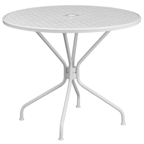 """Our Commercial Grade 35.25"""" Round White Indoor-Outdoor Steel Patio Table is on sale now."""