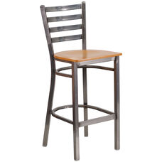 Clear Coated Ladder Back Metal Restaurant Barstool with Natural Wood Seat
