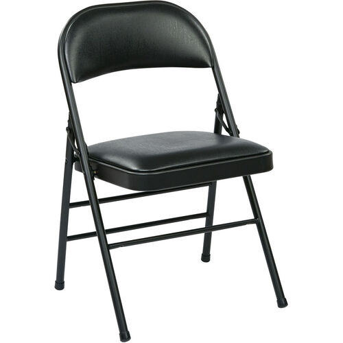 Our Work Smart Folding Chair with Vinyl Seat and Back - Set of 4 - Black is on sale now.