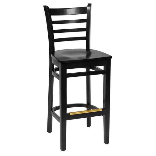 Our Burlington Black Wood Ladder Back Barstool - Wood Seat is on sale now.
