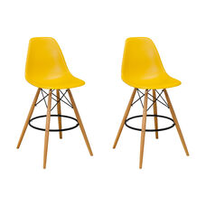 Paris Tower Barstool with Wood Legs and Yellow Seat - Set of 2