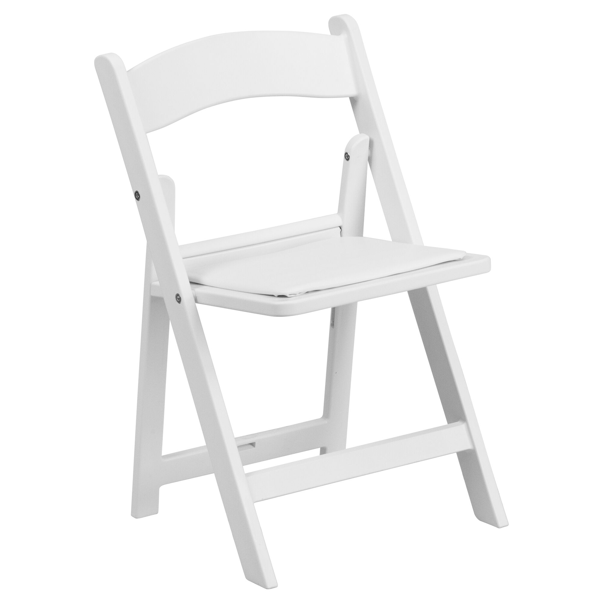 Remarkable Kids White Resin Folding Chair With White Vinyl Padded Seat Theyellowbook Wood Chair Design Ideas Theyellowbookinfo