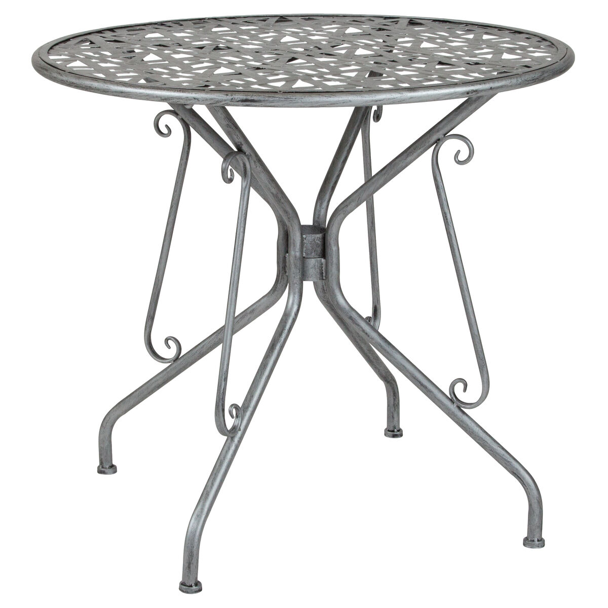 Our agostina series 31 5 round antique silver indoor outdoor steel patio table is on