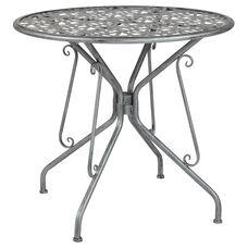"Agostina Series 31.5"" Round Antique Silver Indoor-Outdoor Steel Patio Table"
