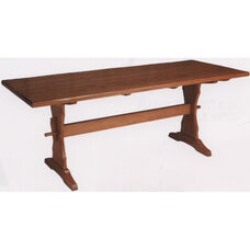 1778 Large Rectangular Wood Trestle Table with Rustic Styling and Self-Leveling Glides