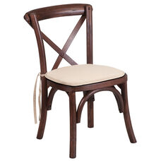 HERCULES Series Stackable Kids Mahogany Wood Cross Back Chair with Cushion