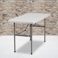 4-Foot Granite White Plastic Folding Table