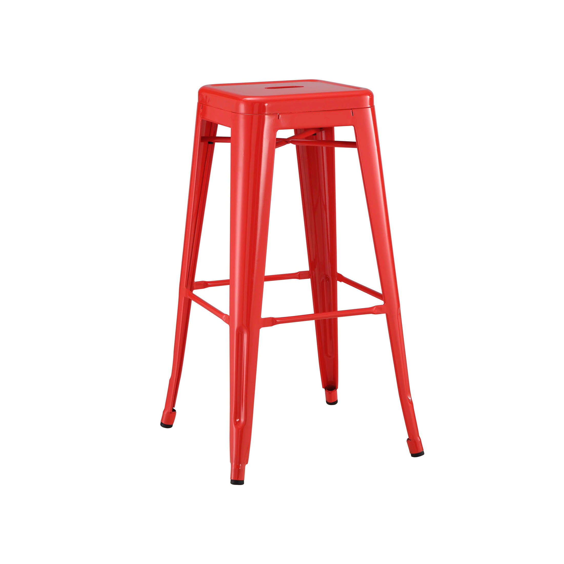 Dreux 30h Stackable Glossy Red Steel Barstool Set Of 4