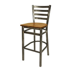 Lima Clear Coat Ladderback Barstool - Autumn Ash Seat