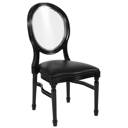 Our HERCULES Series 900 lb. Capacity King Louis Chair with Transparent Back, Black Vinyl Seat and Black Frame is on sale now.