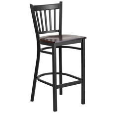 Black Vertical Back Metal Restaurant Barstool with Walnut Wood Seat
