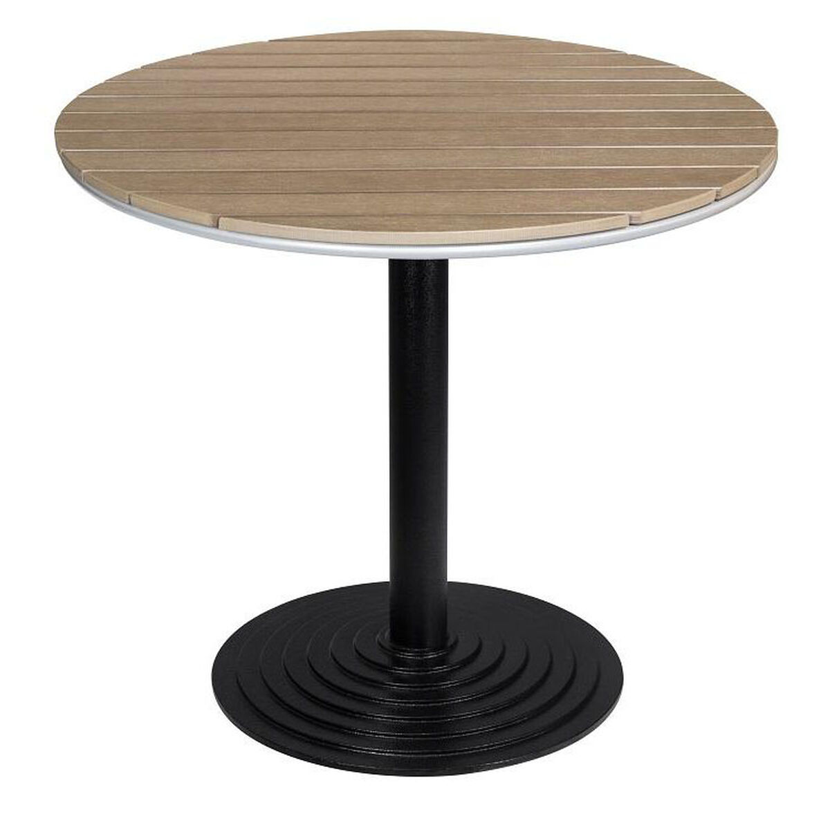 Our Nevada 32 Round Gray Durawood Table Top With Valencia Dining Base