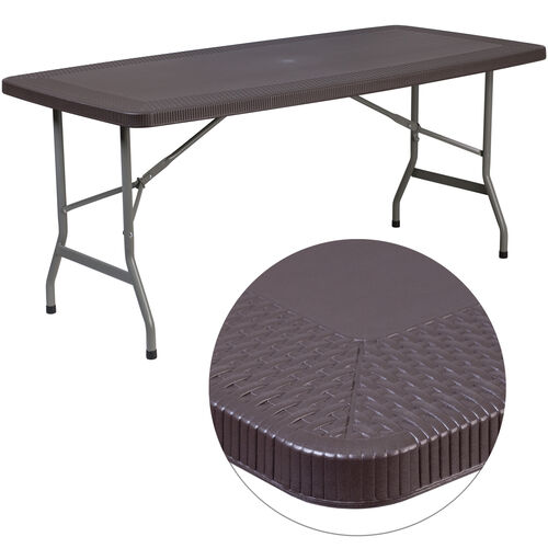Our 5.5-Foot Brown Rattan Plastic Folding Table is on sale now.