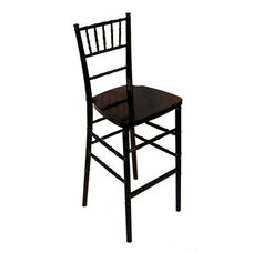 Legacy Series Stacking Wood Gloss Finish Chiavari Bar Stool - Black