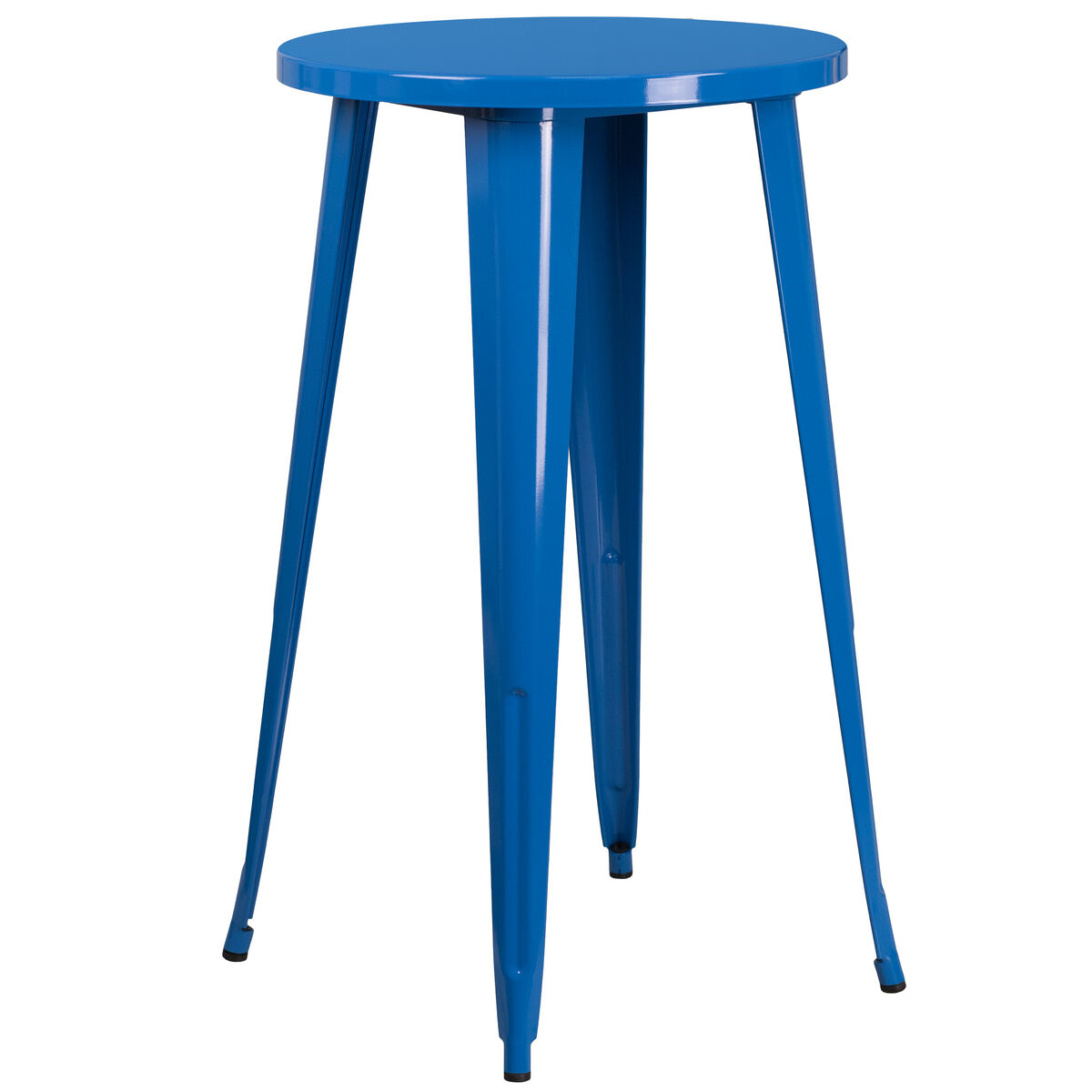 Product Ch 51080 40 Video Our 24 Round Blue Metal Indoor Outdoor Bar Height Table Is On