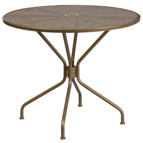 "Our Commercial Grade 35.25"" Round Gold Indoor-Outdoor Steel Patio Table is on sale now."