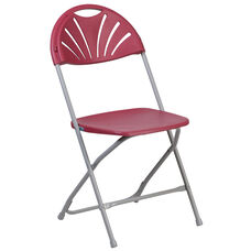 HERCULES Series 650 lb. Capacity Burgundy Plastic Fan Back Folding Chair