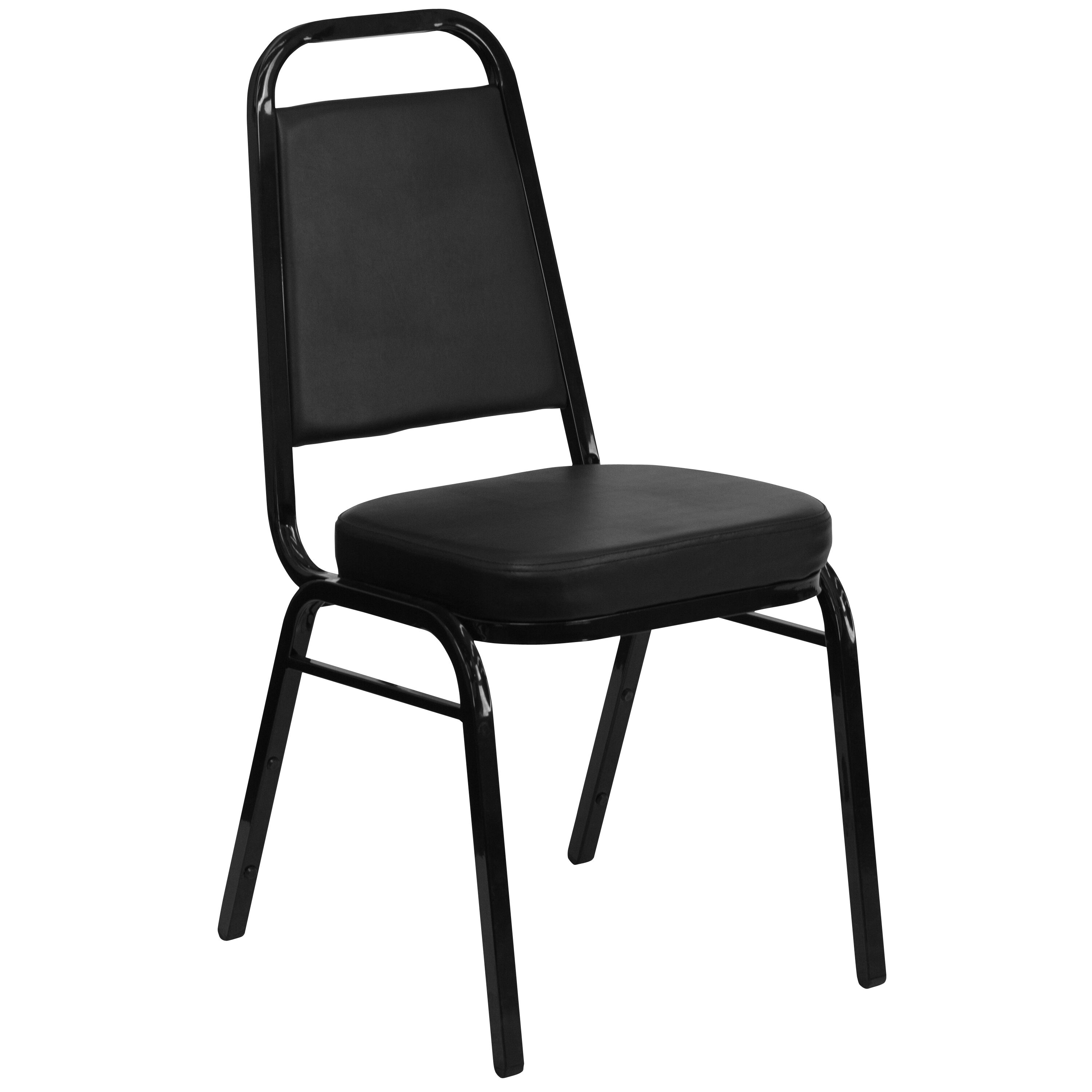 Our HERCULES Series Trapezoidal Back Stacking Banquet Chair In Black Vinyl    Black Frame Is On
