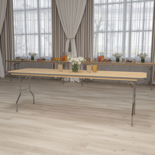 8-Foot Rectangular HEAVY DUTY Birchwood Folding Banquet Table with METAL Edges and Protective Corner Guards