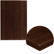 "30"" x 45"" Rectangular High-Gloss Walnut Resin Table Top with 2"" Thick Edge"
