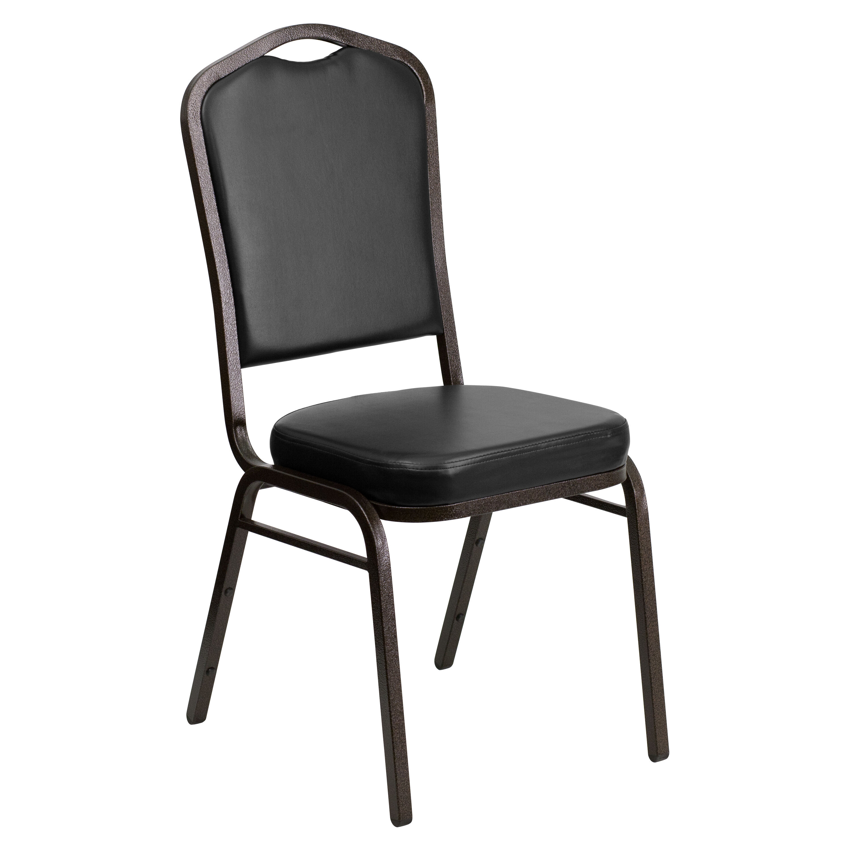 Flash Furniture HERCULES Series Crown Back Stacking Banquet Chair In Black  Vinyl   Gold Vein Frame FD C01 GOLDVEIN BK VY GG   BestChiavariChairs.com