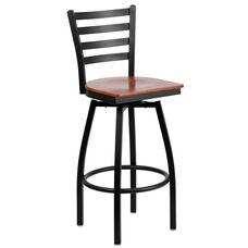 HERCULES Series Black Ladder Back Swivel Metal Barstool - Cherry Wood Seat