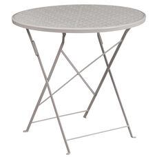 "Commercial Grade 30"" Round Light Gray Indoor-Outdoor Steel Folding Patio Table"