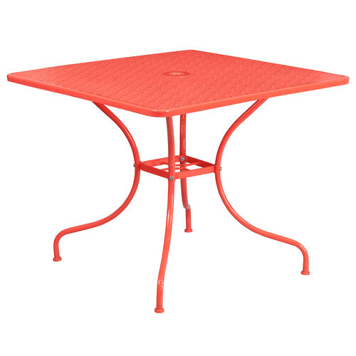 """Our Commercial Grade 35.5"""" Square Coral Indoor-Outdoor Steel Patio Table is on sale now."""