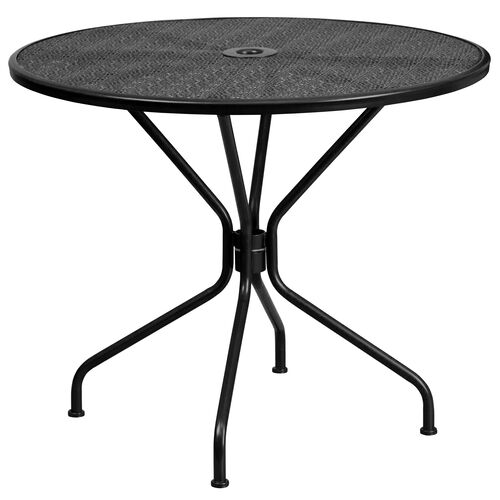 """Our Commercial Grade 35.25"""" Round Black Indoor-Outdoor Steel Patio Table is on sale now."""