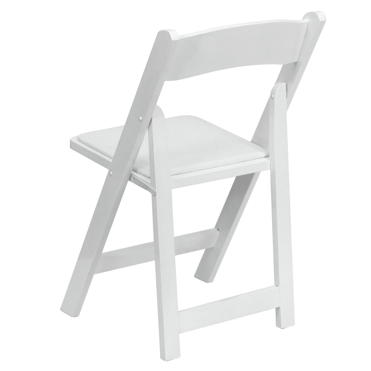 Admirable Hercules Series White Wood Folding Chair With Vinyl Padded Seat Pabps2019 Chair Design Images Pabps2019Com