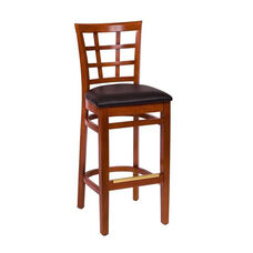 Pennington Cherry Wood Window Pane Barstool - Vinyl Seat