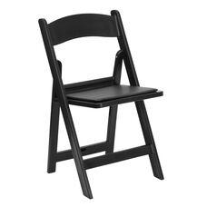 HERCULES Series 1000 lb. Capacity Black Resin Folding Chair with Black Vinyl Padded Seat